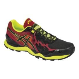 ASICS Men's Gel Fuji Endurance Trail Running Shoes - Black/Red/Lime Green