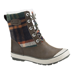 Keen Women's Elsa Waterproof Winter Boots - Brown/Green Plaid