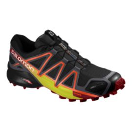 Salomon Men's SpeedCross 4 CS Running Shoes - Black/Red/Yellow
