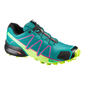 Salomon Women's SpeedCross 4 PCK Running Shoes - Teal Blue/Lime Green
