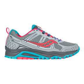 Saucony Women's Excursion TR10 Trail Running Shoes - Grey/Coral Pink/Blue