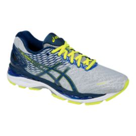 ASICS Men's Gel Nimbus 18 Running Shoes - Silver/Blue/Lime Green