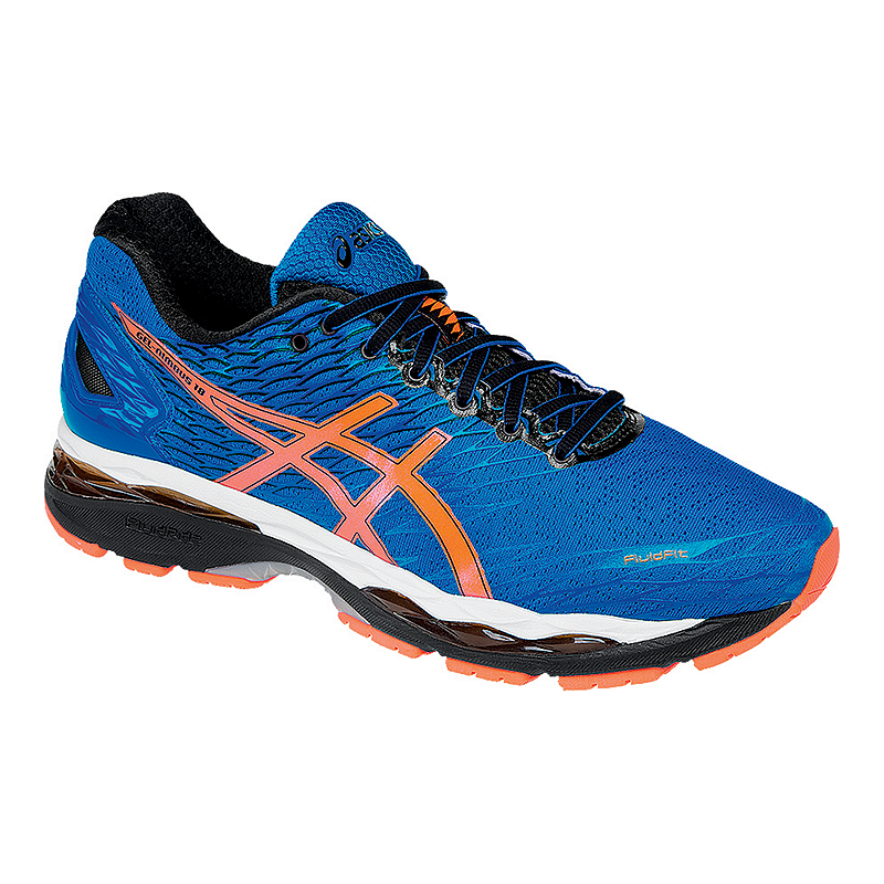 ASICS Men s Gel Nimbus 18 Running Shoes - Blue Orange Black ... e24a614987