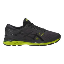 ASICS Men's Gel Kayano 24 Running Shoes - Charcoal Black/Lime Green