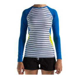Level Six  Women's Venus Long Sleeve Rash Guard Tight Fit - BW Stripes