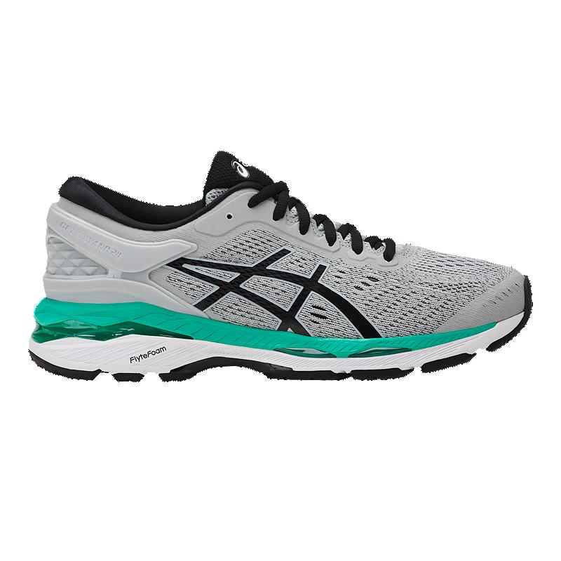 ASICS Women s Gel Kayano 24 Running Shoes - Grey Black Green ... ef746cbdc