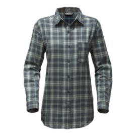 The North Face Women's Boyfriend Plaid Long Sleeve Shirt - Ink Blue