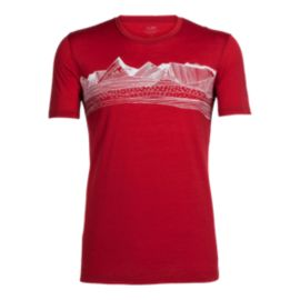 Icebreaker Men's Tech Lite Pyrenees Short Sleeve T Shirt - Oxblood