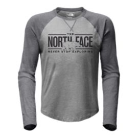 The North Face Men's Double Bar Raglan Baseball T Shirt - Grey