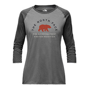 The North Face Women's 66 Classic 3/4 Baseball T Shirt - Grey