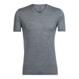 Icebreaker Men's Tech Lite V Neck Short Sleeve T Shirt - Gritstone Heather