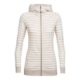 Icebreaker Women's Crush Long Sleeve Zip Hoodie - Striped Fawn/Snow