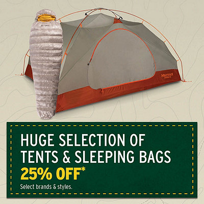 Huge Selection of Tents & Sleeping Bags on Sale 25% Off*