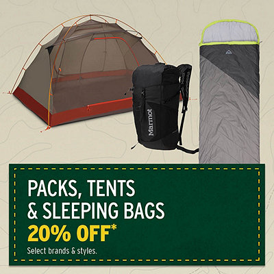 Select Packs, Tents & Sleeping Bags 20% Off*