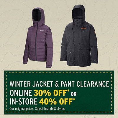 Select Winter Jacket & Pant Clearance 30% Off*