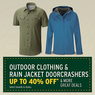 Outdoor Clothing & Rain Jacket Doorcrashers Up To 40% Off* & More Great Deals