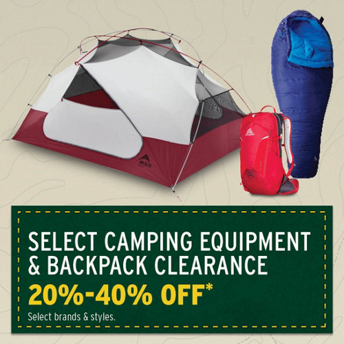Select Camping Equipment & Backpack Clearance 20-40%