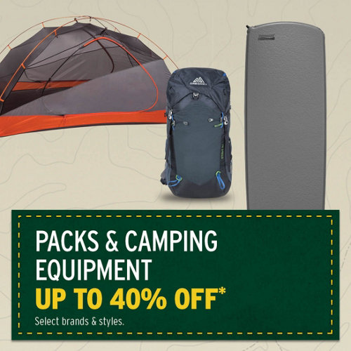 Packs & Camping Equipment up to 40% Off