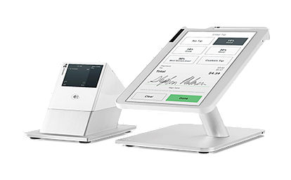 Clover Station is a powerful countertop POS solution with a 14-inch HD screen and an optional NFC-enabled receipt printer.