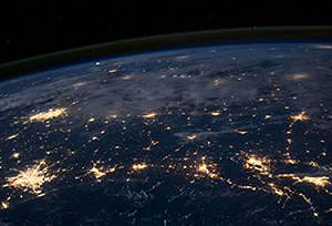 Global satellite view of earth illustrating Bank of America Merchant Services global presence