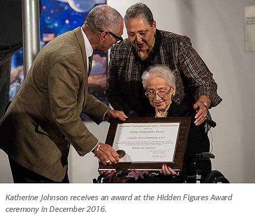 Katherine Johnson receives an award at the Hidden Figures Award ceremony in December 2016.