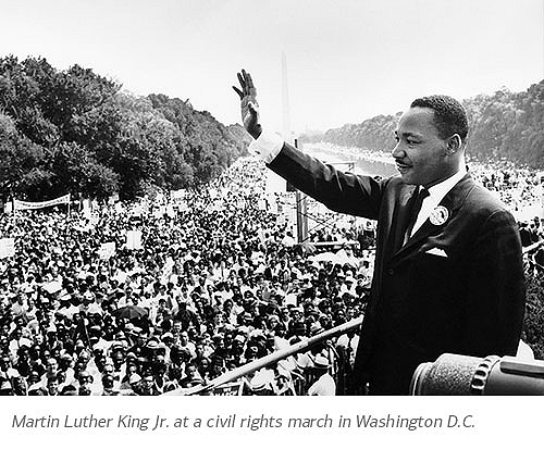 Martin Luther King Jr. at a civil rights march in Washington D.C.