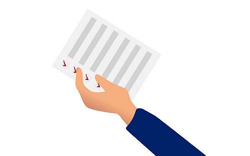 Hand holding checklist