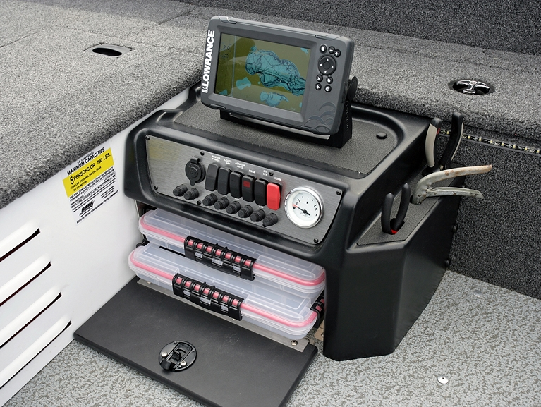 1650 Angler Tiller Command Console with Tackle Tray Storage and Integrated Tool Holder