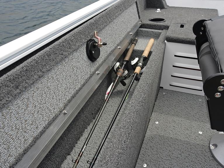 1650 Angler Tiller Starboard Side Rod Storage Compartment Open