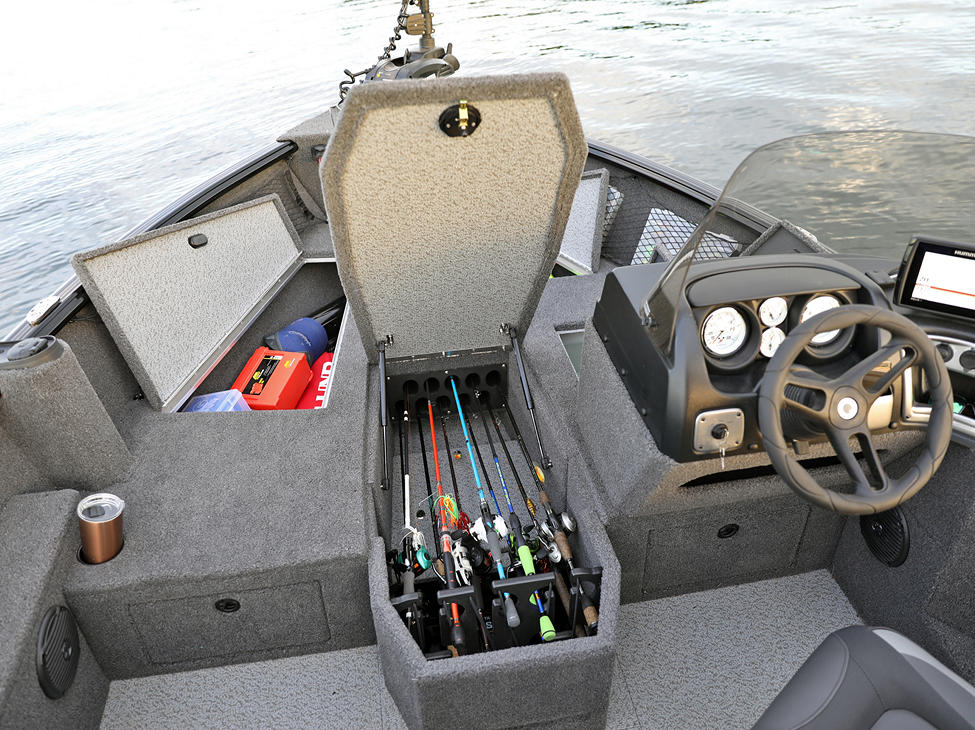 1775 Impact XS SS Bow Deck Storage Compartments Open