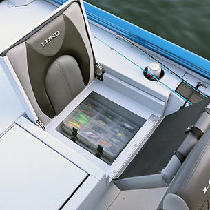1875-1975 Renegade Port Aft Jump Seat Open shown with Gray Lund Guard Floor and Interior Option