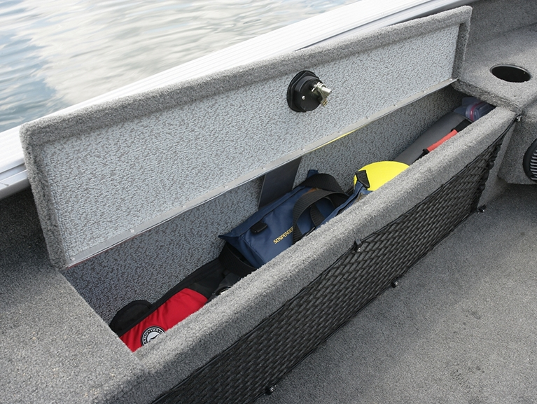 1875-2075 Pro Guide Port Storage Net and Storage Compartment Open