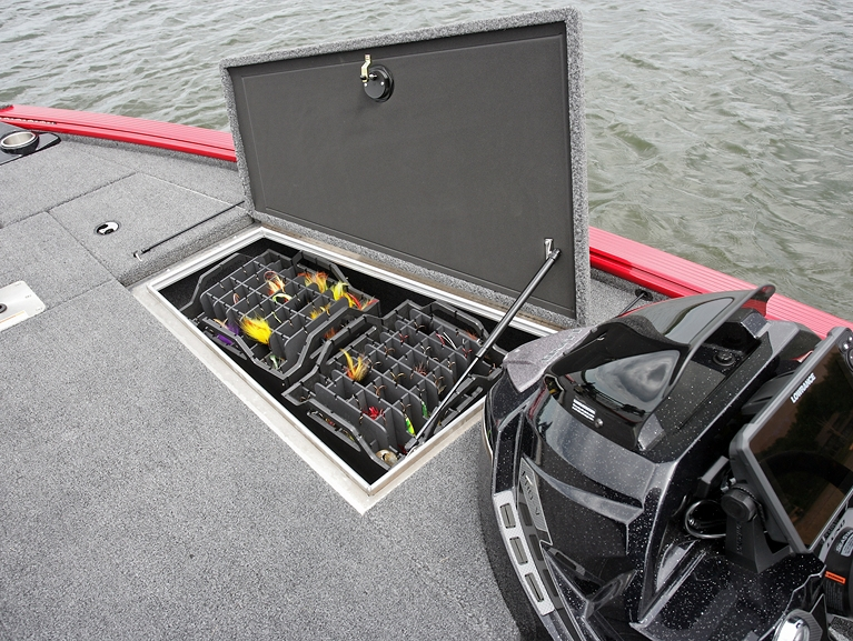 1875 Pro-V Musky Bow Deck Starboard Storage Compartment with Standard Musky Tackle Boxes