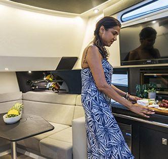 Kitchen area in cabin
