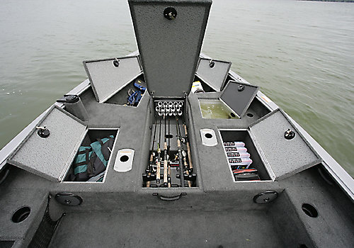 2075 Pro Guide Bow Deck Storage Compartments Open