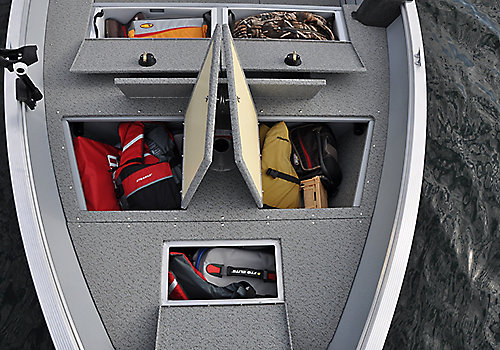 Outfitter Bow Deck Storage Compartments Open