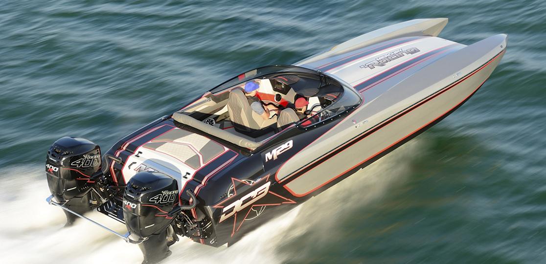 Black gray boat Mercury 400r water