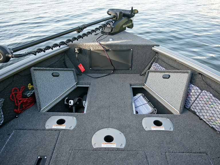 Impact XS Bow Deck Storage Compartments Open