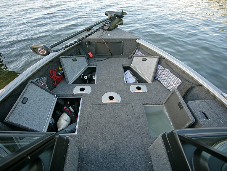 Impact XS Bow Deck Storage Compartments and Livewell Open