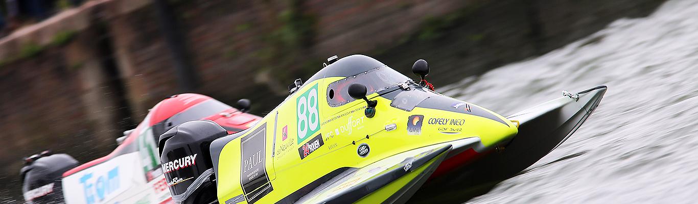 Yellow black boat angle Mercury Racing Outboard