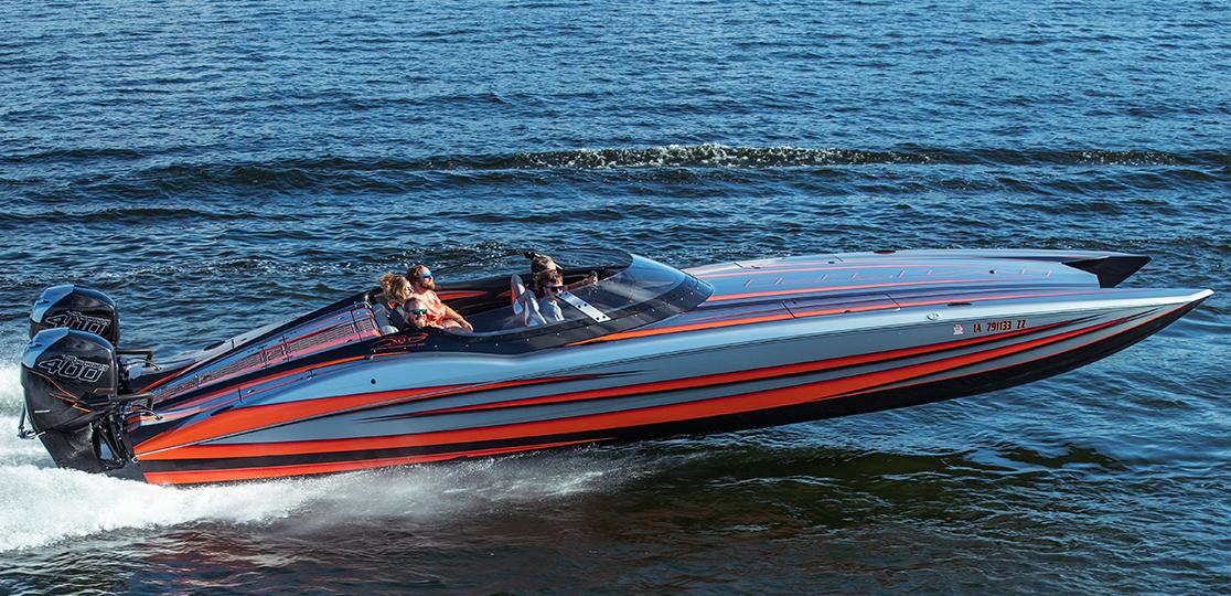 Gray black red boat five people black Mercury 400 r outboard motor side