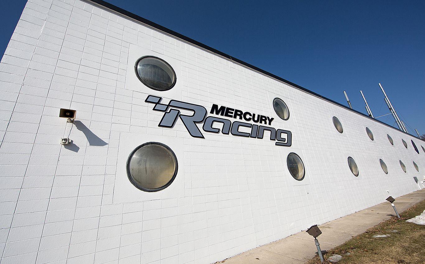 Mercury Racing logo white building close-up