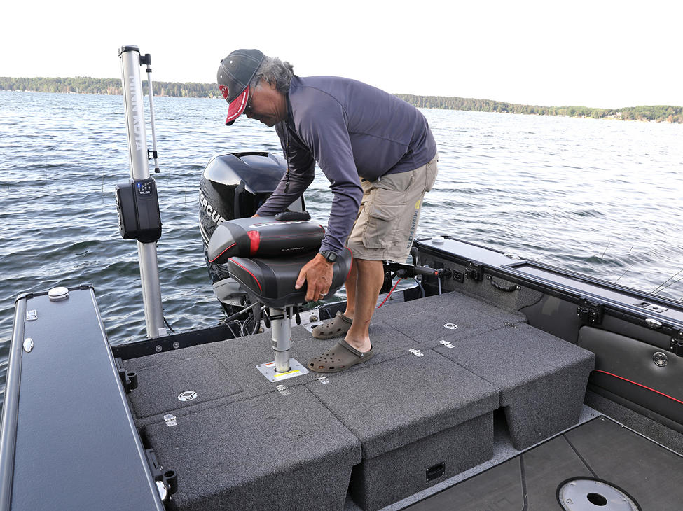 Pro-V Limited Multi-Part Aft Flip Bench - Flipped Down with Seat on Aft Deck