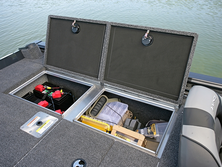 Pro-V Bass Bench Aft Deck Port Storage Compartments Open