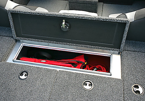 Pro-V Bass Bench Aft Deck Storage Compartment Open