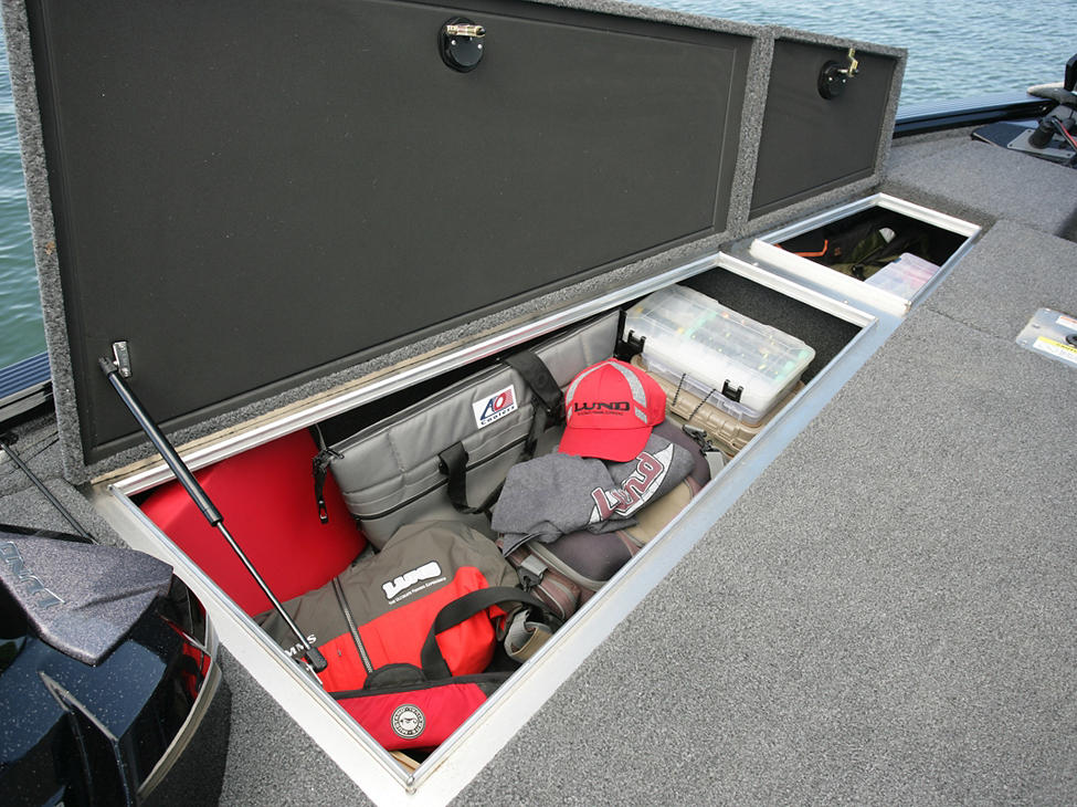 Pro-V Bass Bow Deck Port Storage Compartments Open