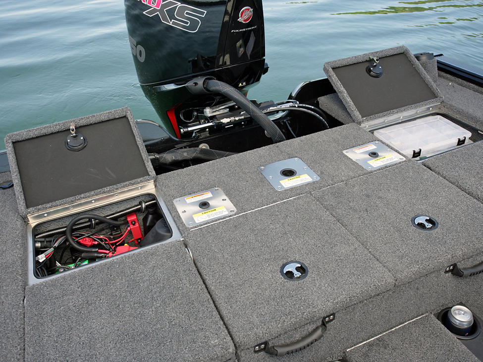 Pro-V Bass XS Aft Deck Storage Compartments Open