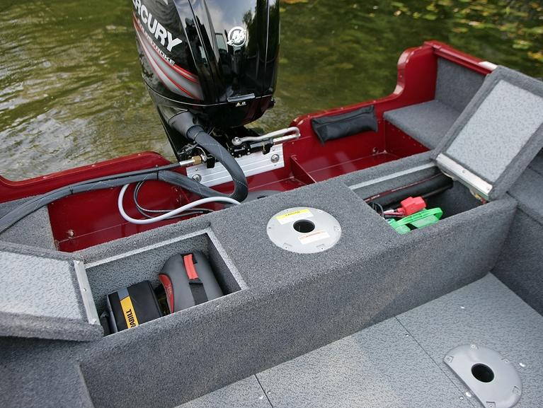 Rebel XL Sport-SS Aft Deck Storage Compartments Open