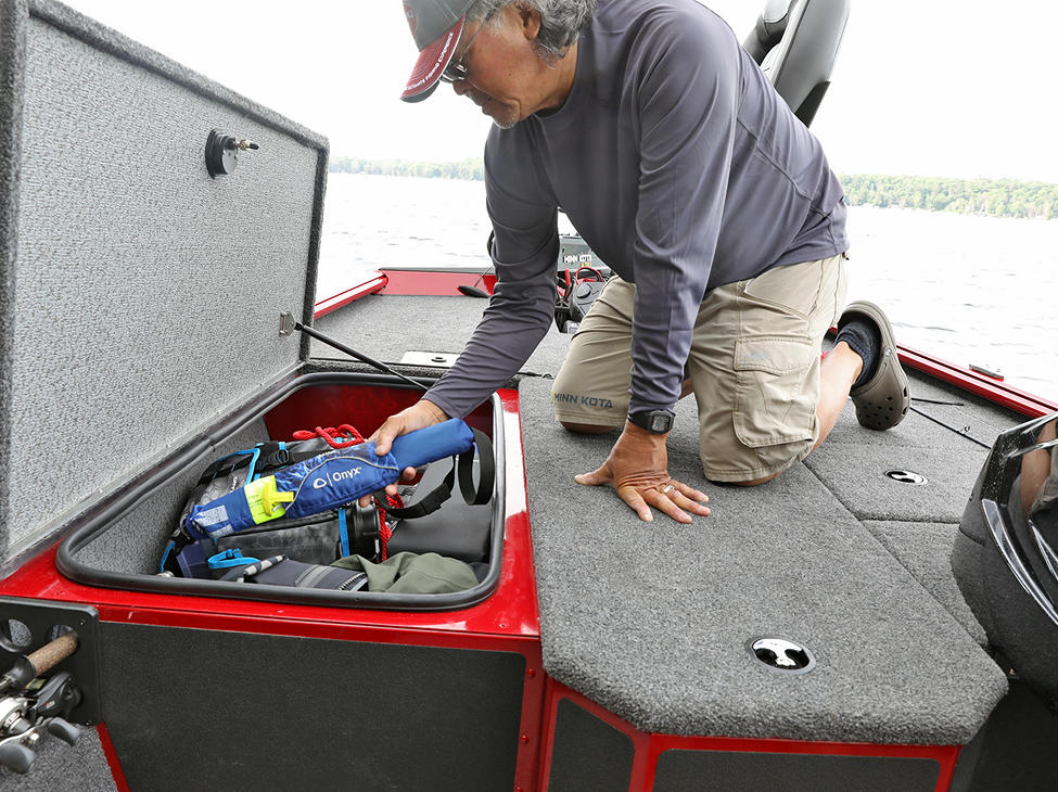 Renegade Bow Deck Port Storage Compartment Open