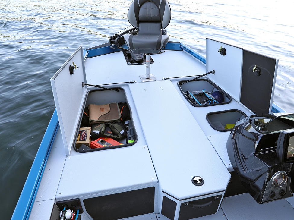 Renegade Bow Deck Storage Compartments Open shown with Gray Lund Guard Floor and Interior Option